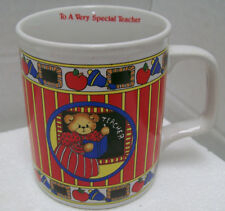 "Enesco Lucy & Me Rigg Teddy Bear ""To A Very Special Teacher"" Coffee Mug Cup 1986"