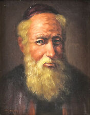 M King Oil On Canvas Applied on Board Portrait Painting of a Rabbi c1940