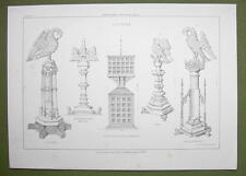 ARCHITECTURE PRINT : LECTERNS Church Furniture with Birds Tirlemont Verona