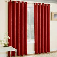 Red Eyelet Curtains Thermal Block-Out Plain Ready Made Ring Top Curtain Pairs