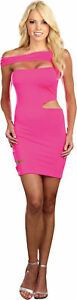Pink Neon Dress Adult Womens Costume Sexy Fuchsia Spandex 1980s Halloween