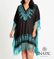 Plus Size Naudic Noosa Fringe Cotton Kaftan- Black & Teal  Size 4XL or 20-22