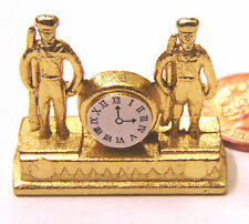 1:12 Scale Non Working Metal Mantle Clock Dolls House Miniature Accessory 1660