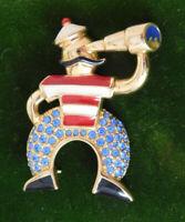 Signed Swan Swarovski Crystal Enamel Naval Sailor Nautical Pin Brooch 9j 43