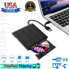 2 In 1 External USB 3.0 Optical Drive Type C Portable DVD CD Laptop Player Slim