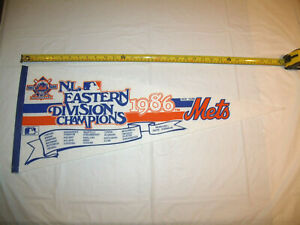 New York Mets 1986 NL Eastern Division Champions Full Size Original Pennant EXC