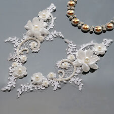 Embroidery Sew on Motif Pearl Beaded Applique Floral Bridal Lace Trimming 1 Pair