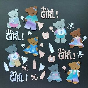 Baby Bear Boy Girl Die Cuts - Sets of 8 plus accessories Christening New Arrival