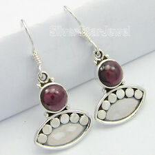 "Solid Silver Amazing Earrings 1.3"" Sparkling Garnet Gemset, Fashionable 925"