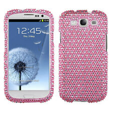 SAMSUNG GALAXY S3 i9300 DIAMANTE SNAP ON CASE DOTS PINK/WHITE
