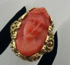 Late 19th C. Victorian 18k Gold Hand Carved Genuine Coral Angel Face Cameo Ring