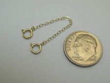 """One Each 2"""" 2.5"""" 14k Yellow Gold Delicate Cable Safety Chain Extenders S02"""