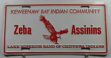 "USA Nummernschild ""KEWEENAW BAY INDIAN COMMUNITY"" mit Adler Boosterschild. 8072."
