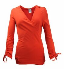 NIKE WOMEN`S YOGA COVER UP WRAP TOP UK SIZE 14 SHIRT RED