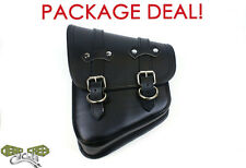 Package Deal! Leather Solo Swingarm Bag and Bobber Bracket-Harley Deluxe, Deuce