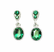 Emerald Rhinestone Alloy Costume Earrings