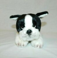 "Russ Plush Boston Terrier Dog 11"" laying Realistic puppy  #12075 Stuffed Animal"