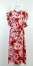 Zara NEW Pink Floral Print Linen Tunic XXL Red Floral Midi Ruffled Sleeves