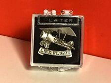 VINTAGE MILITARY AIRPLANE PEWTER PINBACK PLANE LIFE FLIGHT ORIGINAL CASE PIN USA