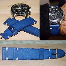 20 mm Light Blue Leather Strap band armband bracelet  yachtingraf speedmaster