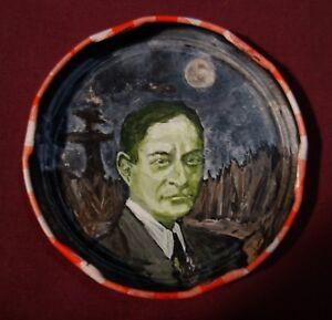 WALTER DE LA MARE, Jam Jar Lid Portrait, Poetry, Outsider Folk Art by PETER ORR
