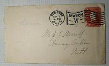 US Sc# U385 Entire Cover 1906 Station W Flag Machine Cancel NYC NY