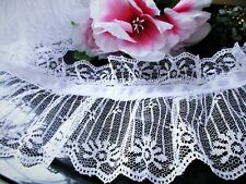 Amazing ruffled lace with white ribbon 4  1/2 inch wide - price for 1 yard