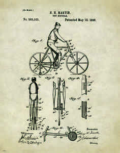 Bicycle Patent Print Vintage Bike Parts Service Repair Toys Home Wall Art Decor
