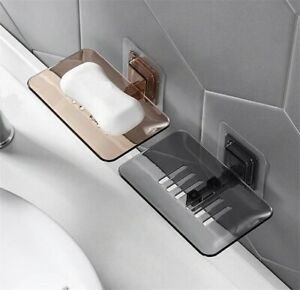 Bathroom Soap Dish Shower Plate Box Storage Holder Case Wall mounted Modern Tray