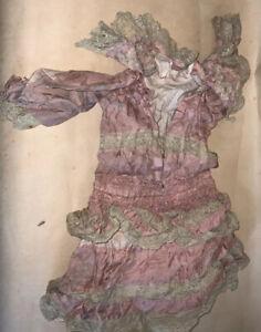Antique   Grande robe XIXème soie Et Dentelle  Pour  Poupée Bru, Jumeau Steiner