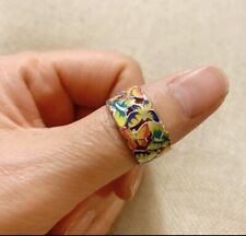 Fine Enamel Filigree Butterfly Ring Size 9 Sterling Silver