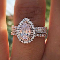 925 Silver Pink Sapphire Ring/Set Fashion Women Wedding Engagement Jewelry #6-10