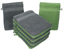 Betz 10er Pack Waschhandschuhe Premium Farbe Anthrazit & Apfel-Grün 16x21 cm