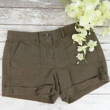 Ann Taylor LOFT Womens Brown Linen Blend Cuff Shorts Size 00