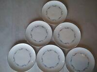 royal doulton 6- coronet h4947 english bone china six inch plates, silver trim