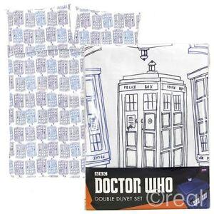 New Doctor Who TARDIS Check Double Duvet Cover & Pillowcase Set Official