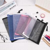 1PC Transparent Student Mesh Pen Bag Pencil Case Zip Portable Pouch Makeup Bag