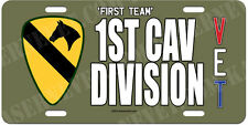 1st Cavalry Division 'First Team' on OD Green Aluminum License Plate Made in USA