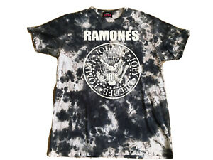 RAMONES 1234 T Shirt Men's Large black white tie dye Presidential Seal