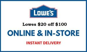 1X Lowes $20 OFF $100 Instore/ Online FAST_SHIPMENT ____