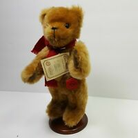 Hermann Teddy Plush Bear Join ted Limited 96 of 2000 Red Scarf Stand Retired