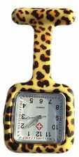 Verpleegkundigen gekleurd patroon Silicone Rubber Fob horloges vierkante Leopard