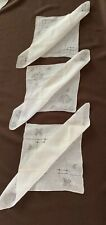 3 Beautiful Vintage Linen Handkerchiefs