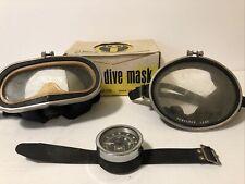Vintage Aqua Lung US Divers Wraparound Diving Mask + Other Unmarked Mask & Gauge