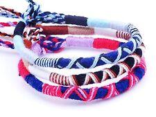 Lot de 3 Bracelet brésilien Amitié coton Friendship bleu rouge blanc marron