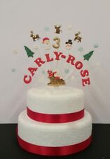 Santa, Christmas birthday cake topper,  personalised name, age cake decoration