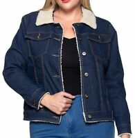 Women's Plus Size Fashionable Button Front Sherpa Lined Denim Jacket