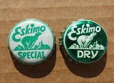 2 rare ESKIMO polar bear Dry / Special Soda cork lined bottle caps FREE SHIP!