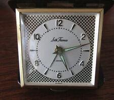 Seth Thomas 7 Jewels Wind Up Travel Alarm Clock, folding leather case, works