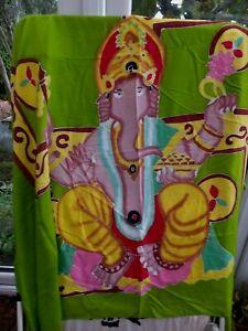 Ganesha Elephant god Hippie Shawl Sarong Pareo  Festival unsold at Fugi Spacey